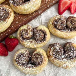 Nutella puff pastry with strawberries on the side