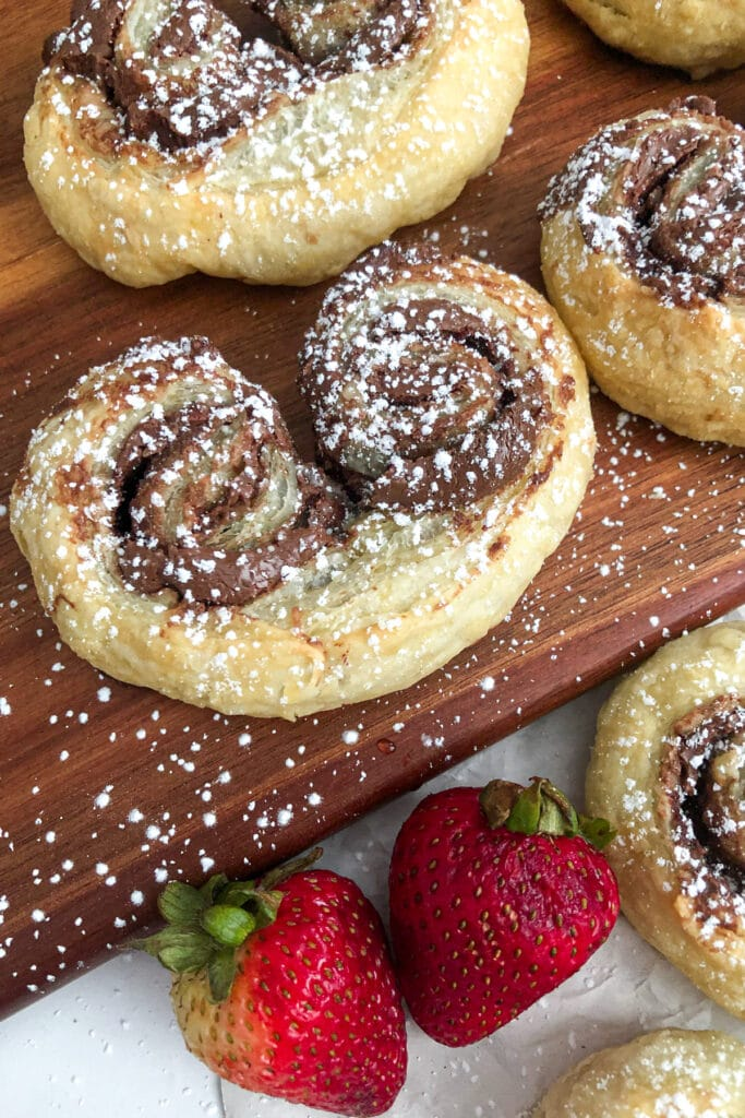 Nutella puff pastry with strawberries for garnish