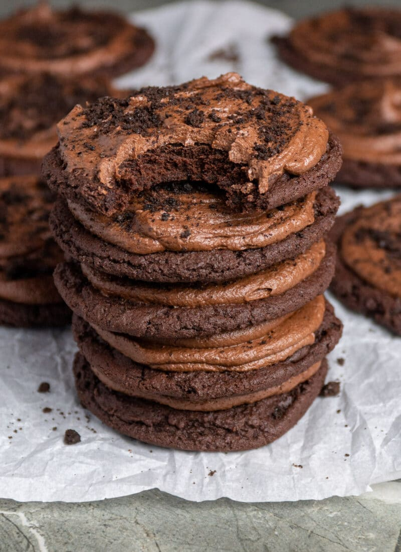 Copycat crumbl cookies stacked on top of each other.