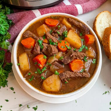 The best slow cooker beef stew served with french bread