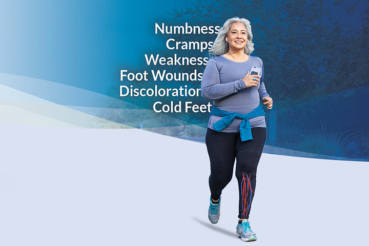 Woman with Peripheral Artery Disease Walking. Showing PAD symptoms: numbness, cramps, weakness, foot wounds, discoloration, and cold feet