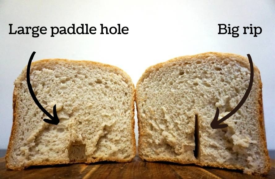 Large bread machine paddle hole at the bottom of loaf