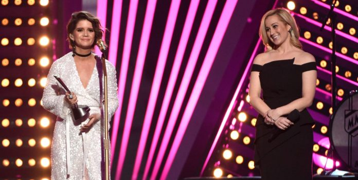 Maren Morris accepts the award at the 52nd annual ACM Awards - Chris Pizzello/Invision/AP