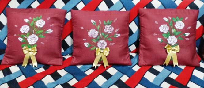 White Rose Flower Acrylic Painting with golden bow on handmade cotton cushion covers.