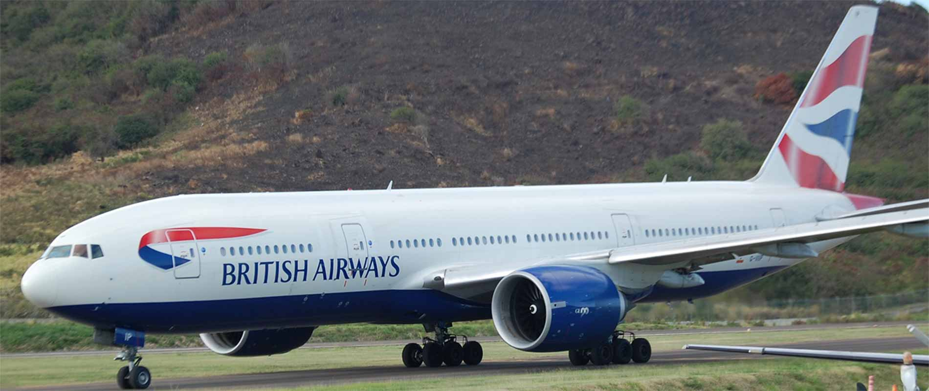 British Airways landed at St Kitts airport