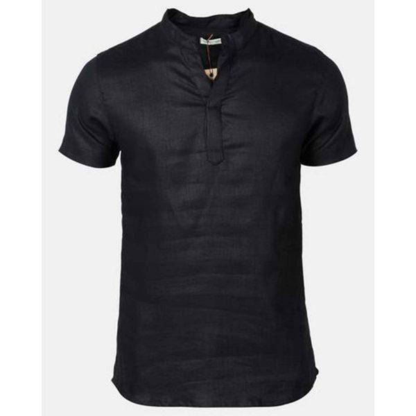 Mandarin Shirt - Black - Detail