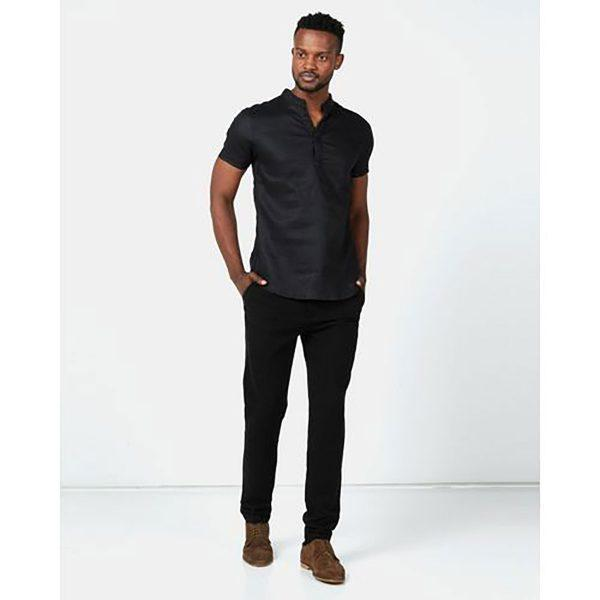 Mandarin Shirt - Black - Lifestyle shot
