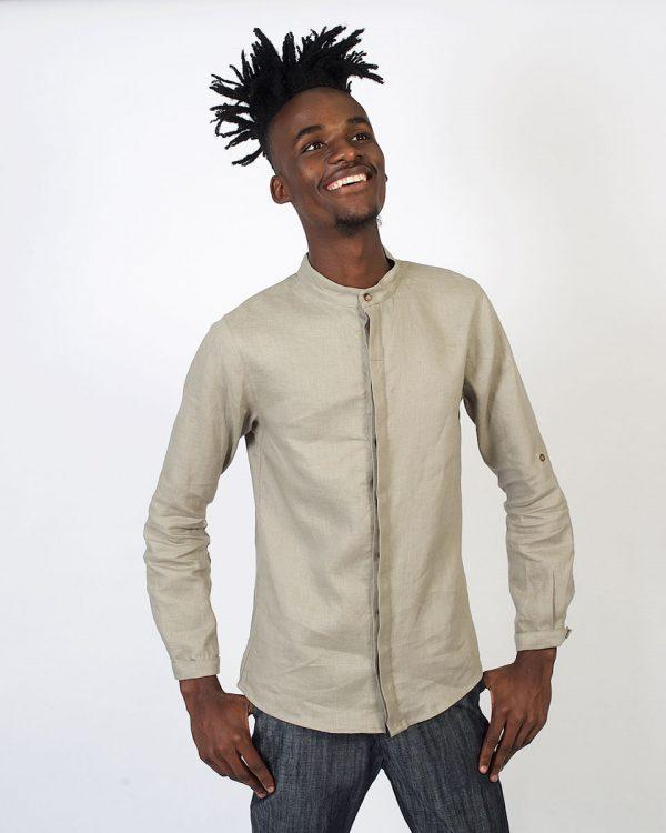 Concealed Stand Linen Shirt - Ash - Front