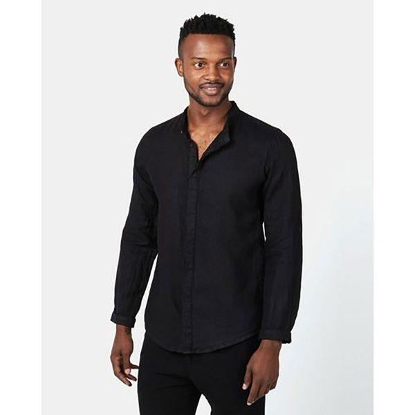 Concealed Stand Linen Shirt - Black - Front