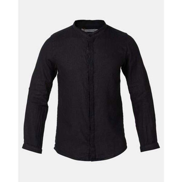 Concealed Stand Linen Shirt - Black - Front detail