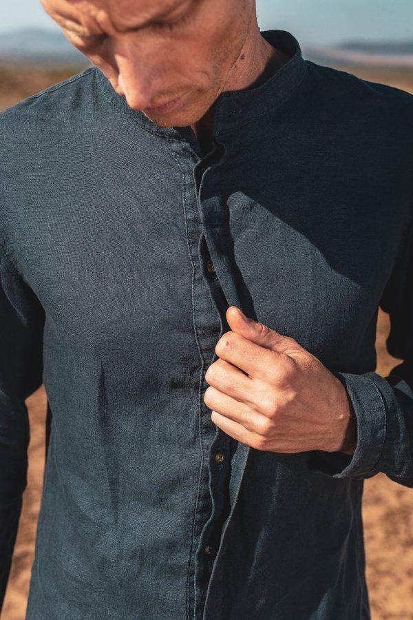 Concealed Stand Linen Shirt - Teal - Front detail 2