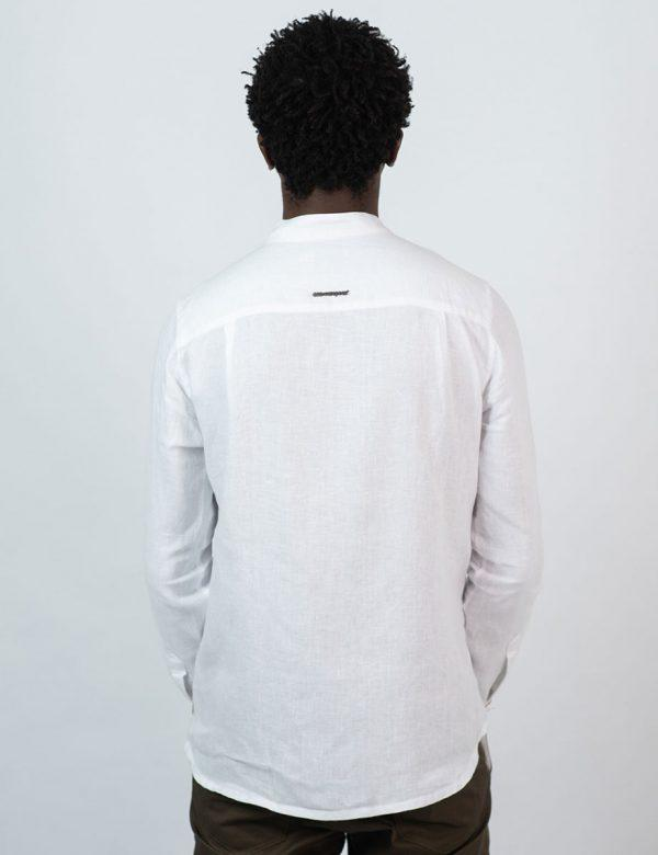 Concealed Stand Linen Shirt - White - Back