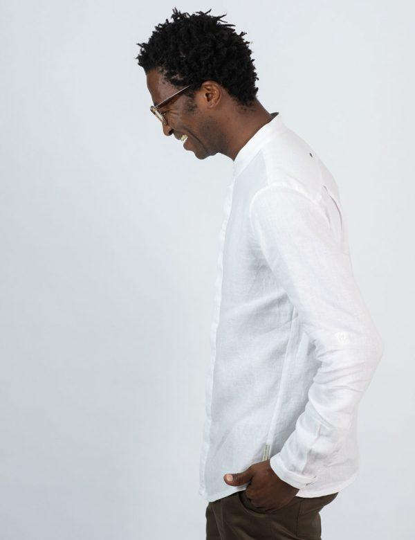 Concealed Stand Linen Shirt - White - Side 2