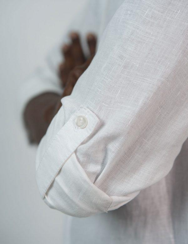 Concealed Stand Linen Shirt - White - Side detail