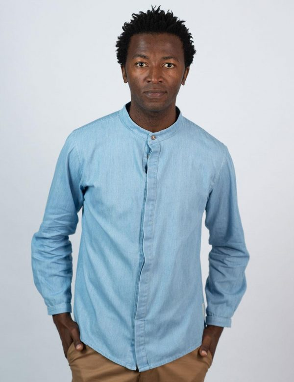Concealed Stand Cotton Shirt - Washed Denim - Front