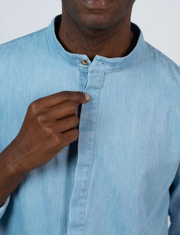 Concealed Stand Cotton Shirt - Washed Denim - Front detail 1