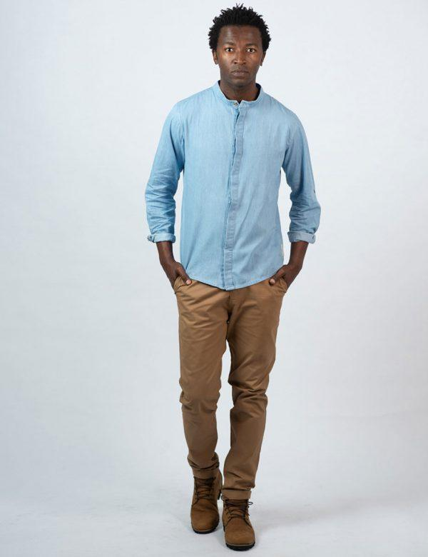 Concealed Stand Cotton Shirt - Washed Denim - Lifestyle shot