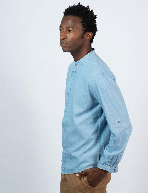 Concealed Stand Cotton Shirt - Washed Denim - Side