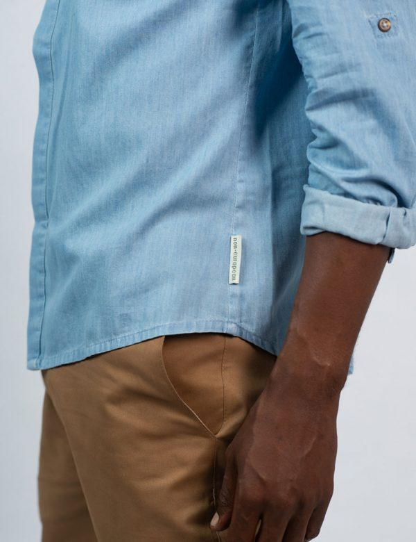 Concealed Stand Cotton Shirt - Washed Denim - Side detail