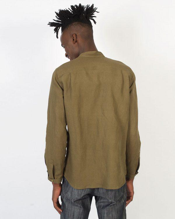 Concealed Stand Linen Shirt - Army - Back