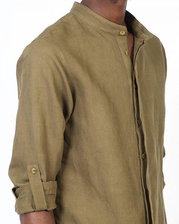Concealed Stand Linen Shirt - Army - Detail