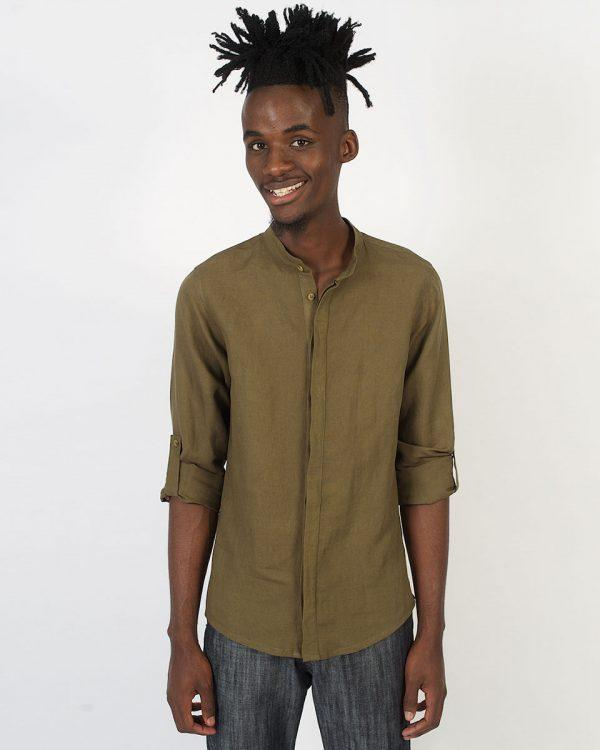 Concealed Stand Linen Shirt - Army - Front