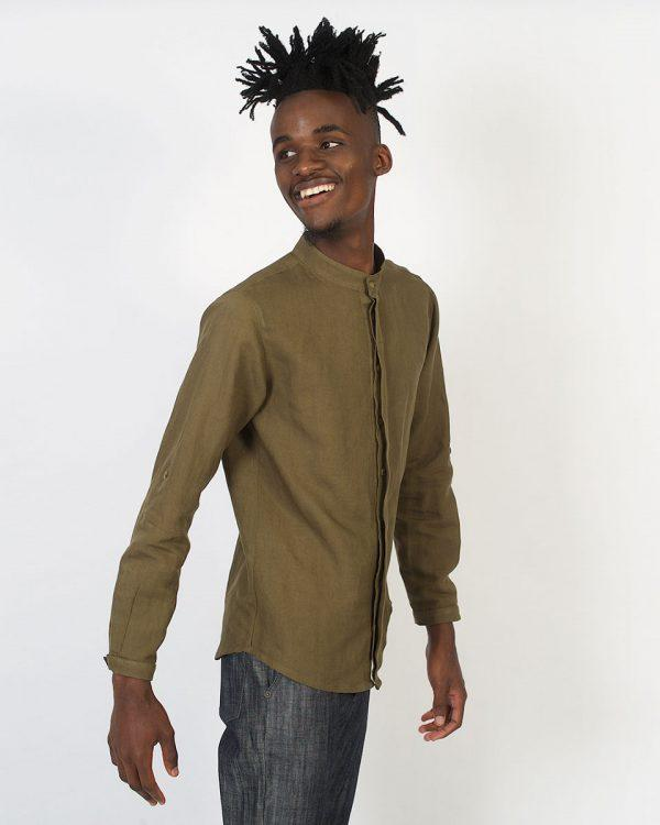 Concealed Stand Linen Shirt - Army - Side front