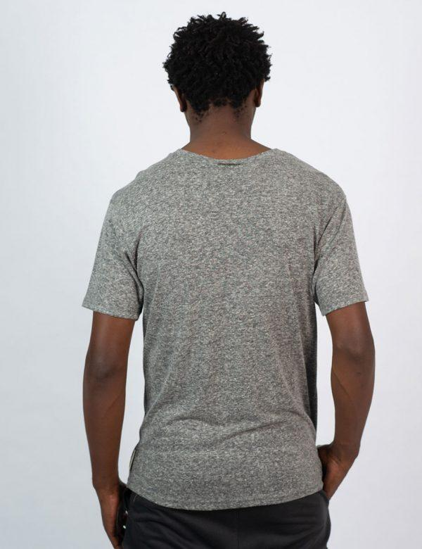 Round Neck Tee - Grey Melange - Back