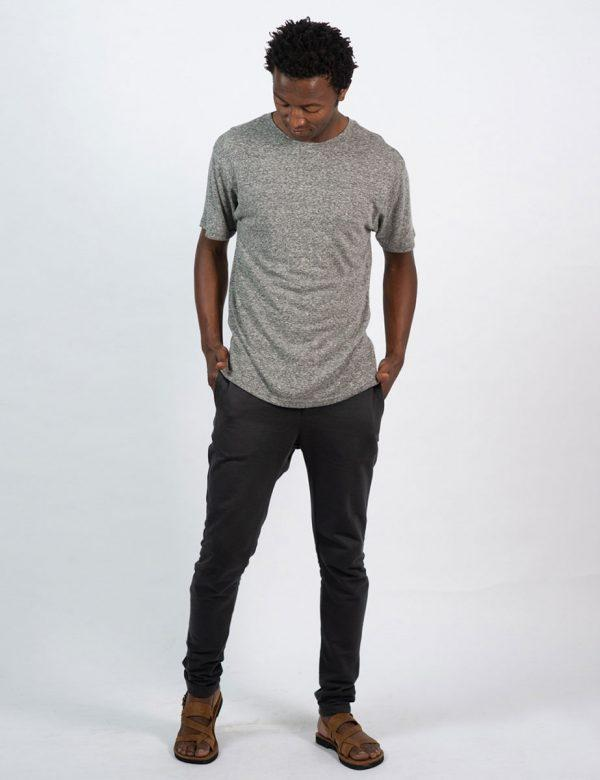 Round Neck Tee - Grey Melange - Lifestyle shot 1