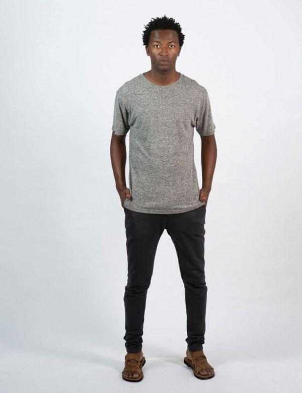 Round Neck Tee - Grey Melange - Lifestyle shot 3