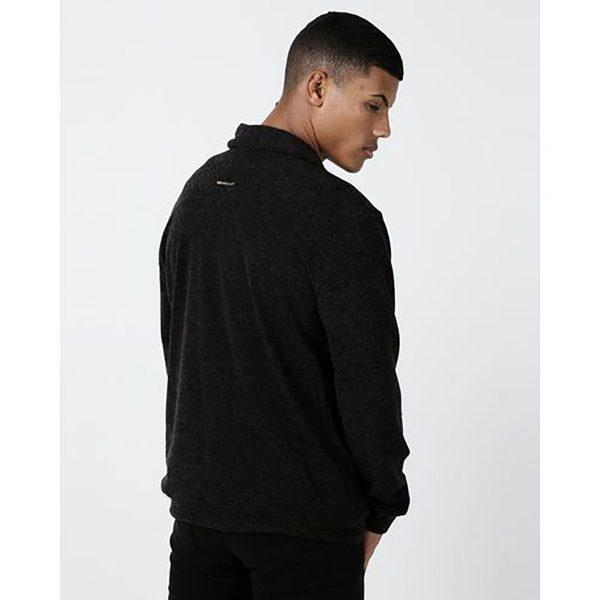 Shawl Collar Cardigan - Black Knit - Back