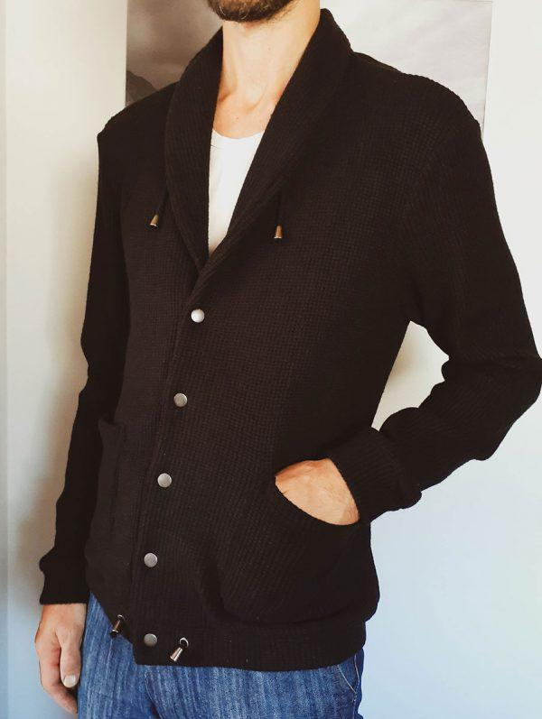 Shawl Collar Cardigan - Black Knit - Side front