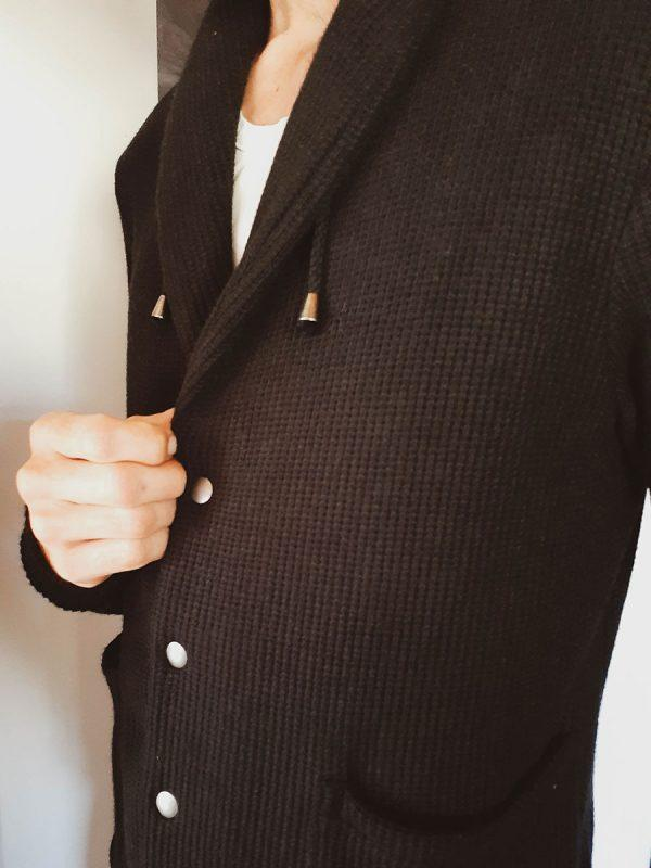 Shawl Collar Cardigan - Black Knit - Side front detail