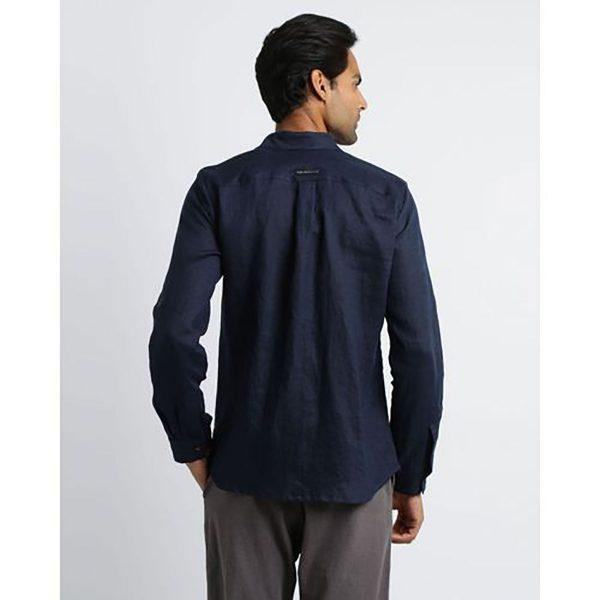 Formal Linen Shirt - Navy - Back