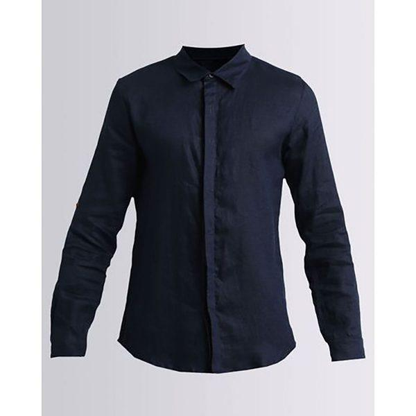 Formal Linen Shirt - Navy - Detail 1