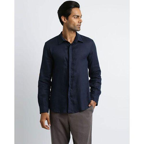 Formal Linen Shirt - Navy - Front