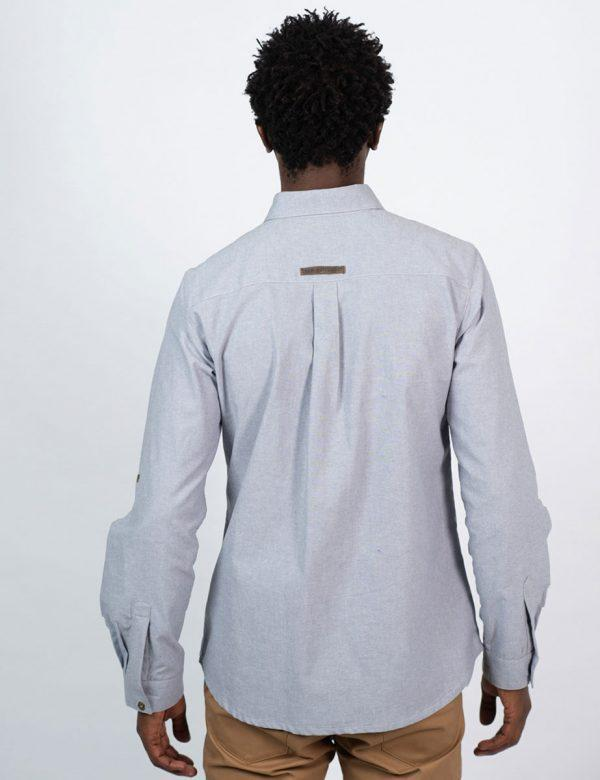 Formal Cotton Shirt - Chambray Grey - Back