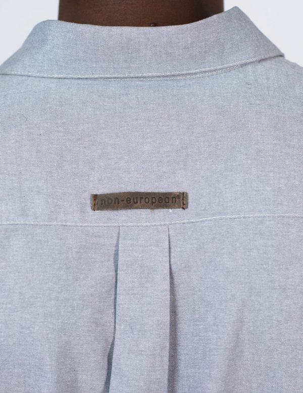 Formal Cotton Shirt - Chambray Grey - Back detail