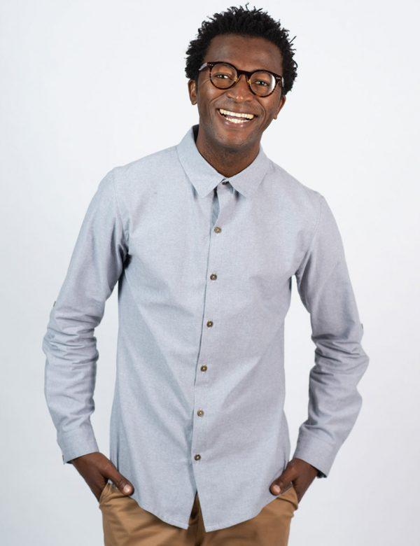 Formal Cotton Shirt - Chambray Grey - Front