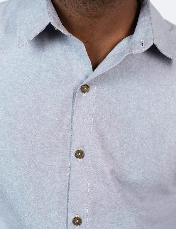 Formal Cotton Shirt - Chambray Grey - Front detail