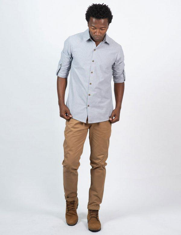 Formal Cotton Shirt - Chambray Grey - Lifestyle shot