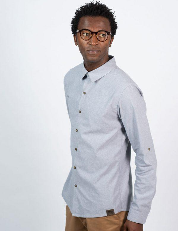 Formal Cotton Shirt - Chambray Grey - Side