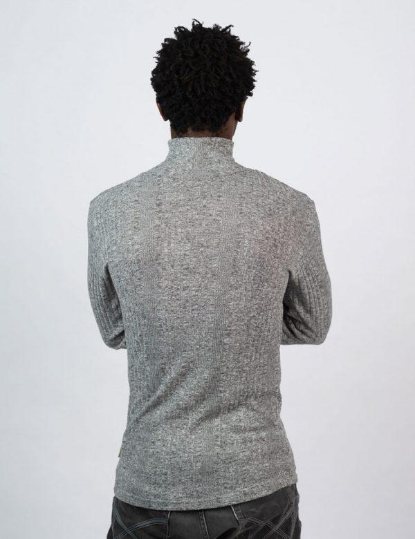 Poloneck Jersey - Charcoal Melange Rib - Back