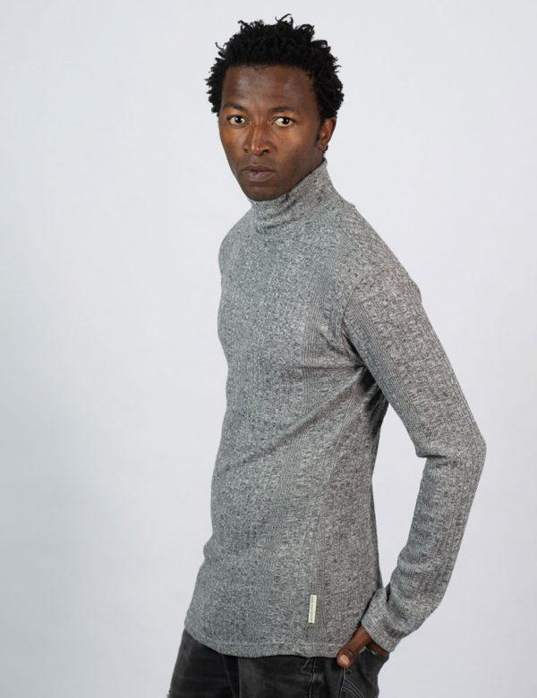 Poloneck Jersey - Charcoal Melange Rib - Side front