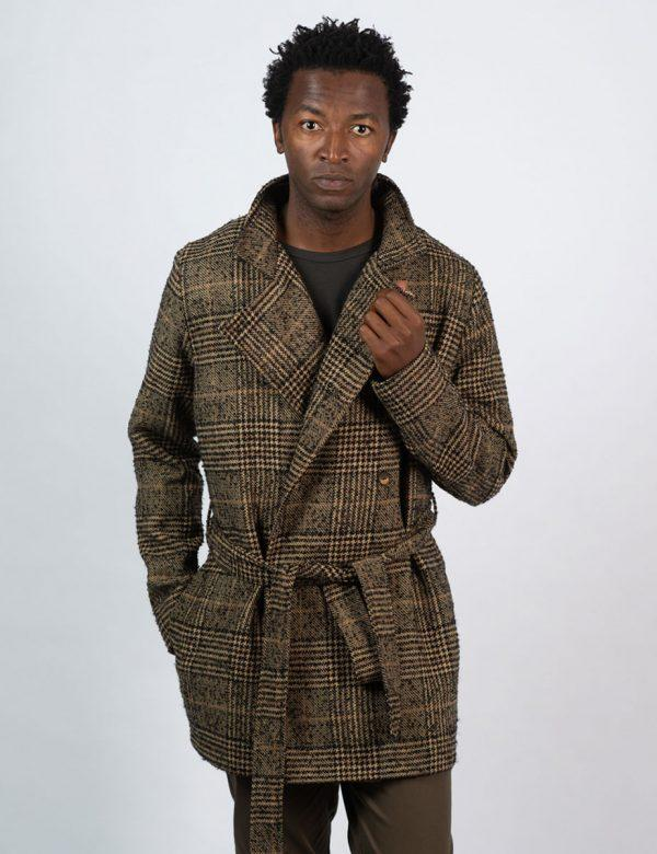 Double Breasted Coat - Tartan Check - Front