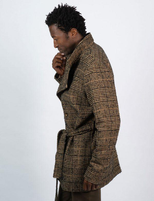 Double Breasted Coat - Tartan Check - Side
