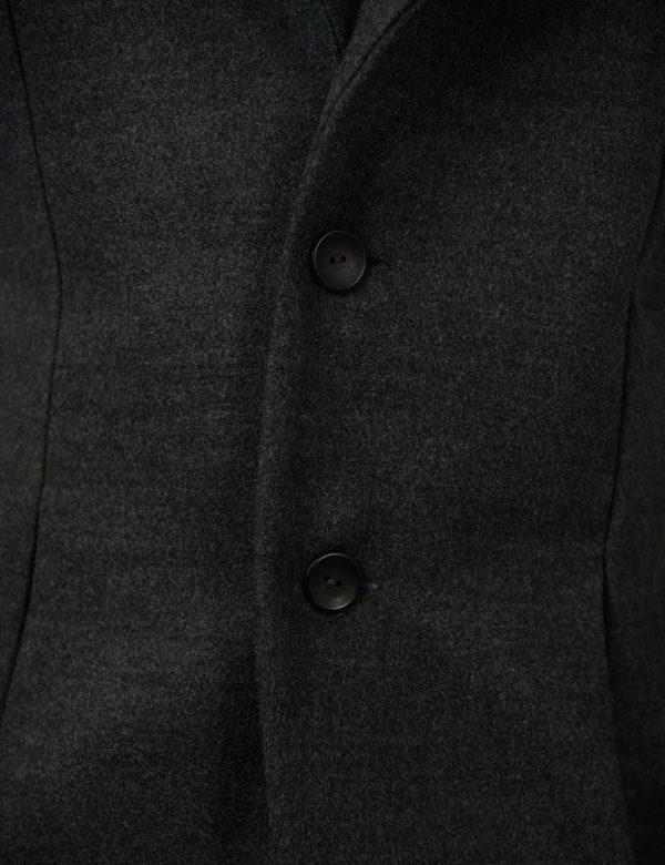 Male Blazer Coat - Charcoal Melange - Button detail