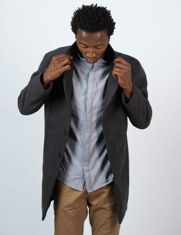 Male Blazer Coat - Charcoal Melange - Lifestyle shot 1