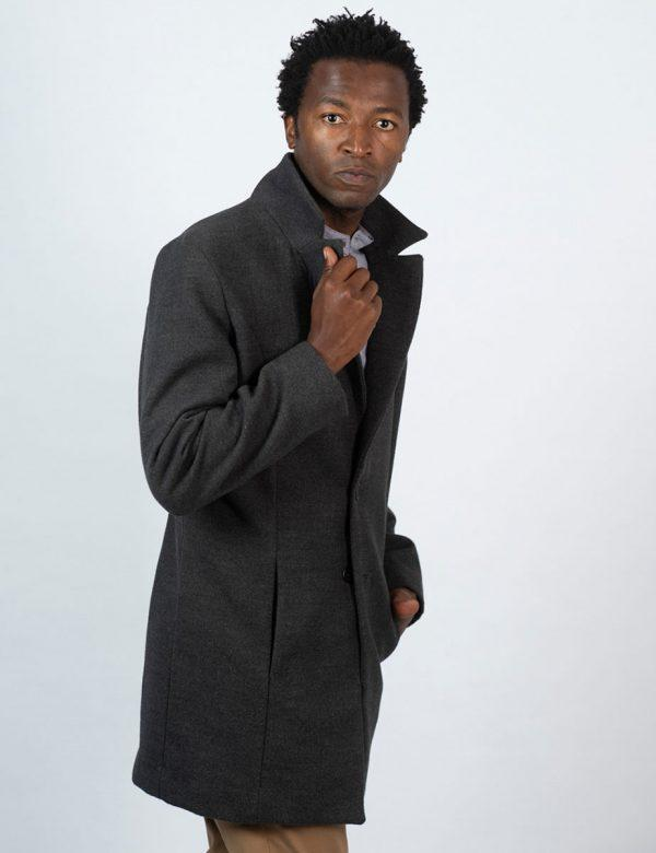 Male Blazer Coat - Charcoal Melange - Side back 2