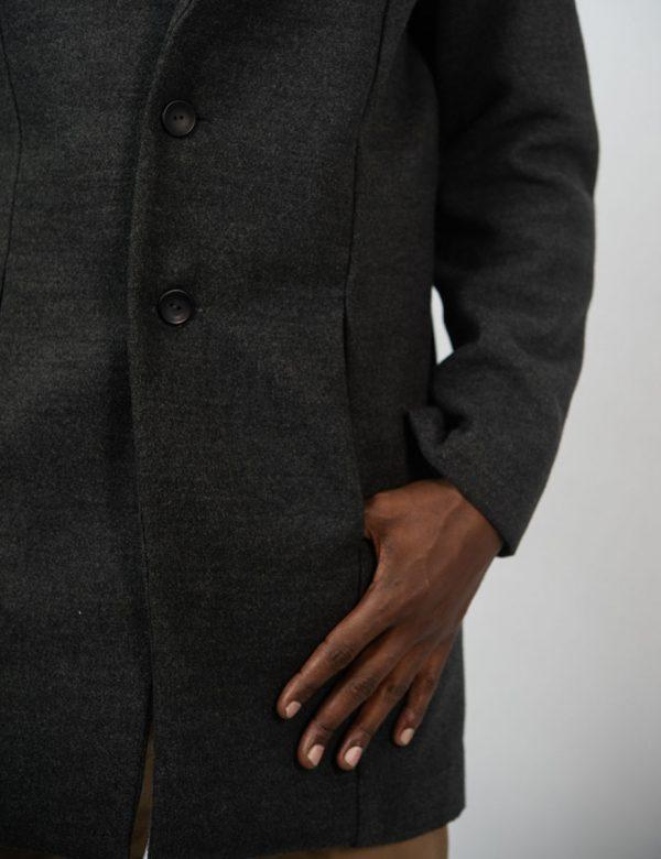 Male Blazer Coat - Charcoal Melange - Side detail